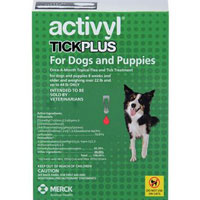 Image of Activyl Tick Plus For Very Small Dogs 4-14 lbs Pink 4 Pack