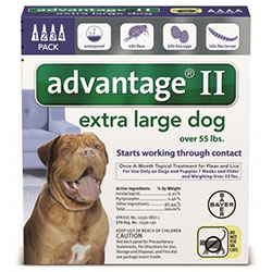 Advantage II Extra Large Dogs over 55 lbs Blue 6 Pipette