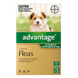 Flea bites are painful and harmful for a pet. A proper treatment helps to eradicate fleas and ensures pet's good health. Advantage for dogs is a perfect solution for treating fleas on dogs. The fast action of Advantage kills 98-100% fleas within 12 hours and the long lasting effect protects dog from re-infestation for a whole month. It is an ideal solution for treating fleas on dogs.    Information:     Advantage for dogs is a widely used topical solution for flea treatment. It kills adult fleas, and prevents re-infestation for a month. The active ingredient – Imidacloprid present in Advantage is an effective insecticide that starts killing fleas within an hour of application. It disrupts the life cycle of flea by destroying larvae and further prevents re-infestations. This easy to use solution kills 99% flea larvae found in dog's surroundings with its unique formula – larvicidal effect.    By killing fleas, Advantage is helpful in fighting various flea-infeste