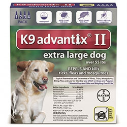 K9 Advantix II Extra Large Dogs over 55 lbs Blue 6 Pipette