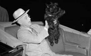 Franklin D. Roosevelt with Fala dog