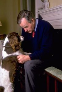 George H.W. Bush with Millie